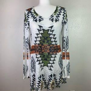 Vocal Aztec/Southwestern Tunic Long Sleeve Large